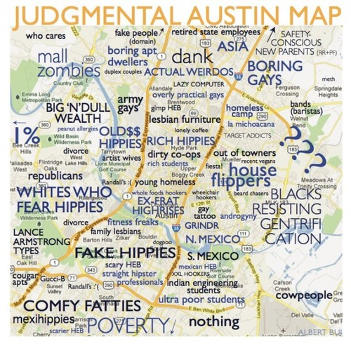 a judgmental map of austin of neighborhoods carddit